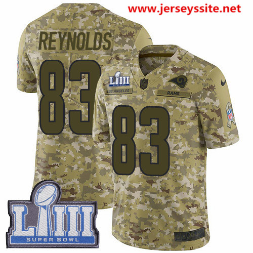 Nike Rams #83 Josh Reynolds Camo Super Bowl LIII Bound Men's Stitched NFL Limited 2018 Salute To Service Jersey