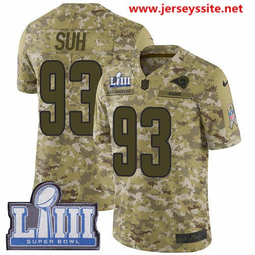 Nike Rams #93 Ndamukong Suh Camo Super Bowl LIII Bound Men's Stitched NFL Limited 2018 Salute To Service Jersey