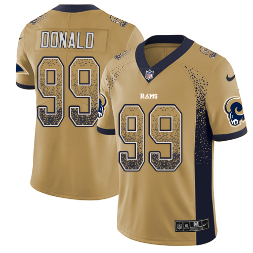 Nike Rams #99 Aaron Donald Gold Men's Stitched NFL Limited Rush Drift Fashion Jersey