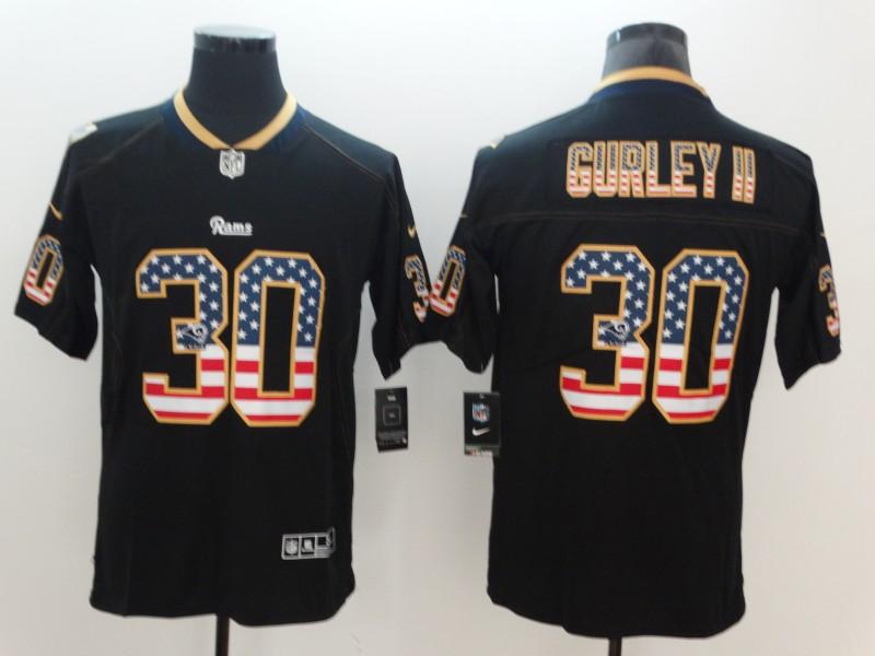 Nike Rams 30 Todd Gurley II Black USA Flag Fashion Color Rush Limited Jersey
