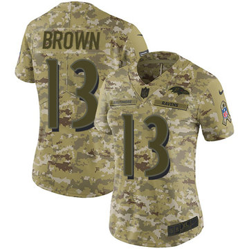 Nike Ravens #13 John Brown Camo Women's Stitched NFL Limited 2018 Salute to Service Jersey