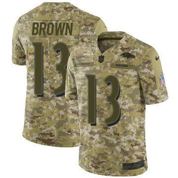 Nike Ravens #13 John Brown Camo Youth Stitched NFL Limited 2018 Salute to Service Jersey