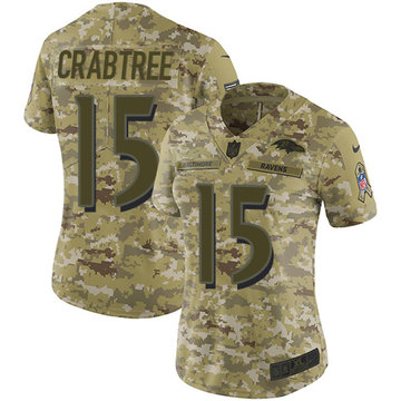 Nike Ravens #15 Michael Crabtree Camo Women's Stitched NFL Limited 2018 Salute to Service Jersey