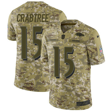 Nike Ravens #15 Michael Crabtree Camo Youth Stitched NFL Limited 2018 Salute to Service Jersey
