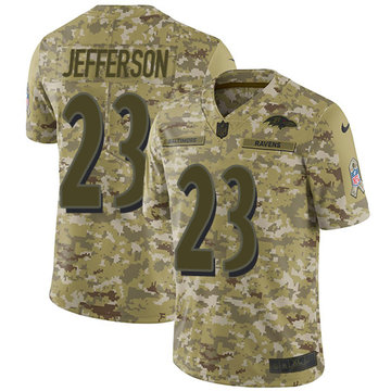 Nike Ravens #23 Tony Jefferson Camo Men's Stitched NFL Limited 2018 Salute To Service Jersey