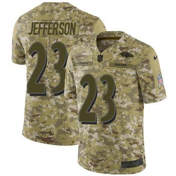Nike Ravens #23 Tony Jefferson Camo Youth Stitched NFL Limited 2018 Salute to Service Jersey