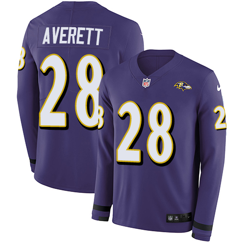 Nike Ravens #28 Anthony Averett Purple Team Color Men's Stitched NFL Limited Therma Long Sleeve Jersey