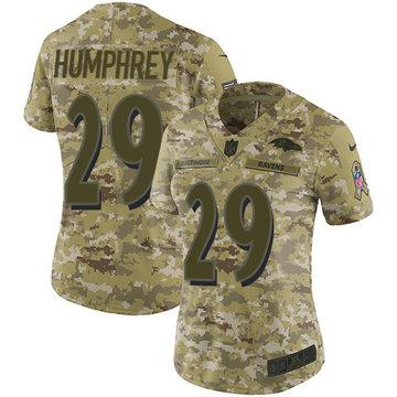 Nike Ravens #29 Marlon Humphrey Camo Women's Stitched NFL Limited 2018 Salute to Service Jersey