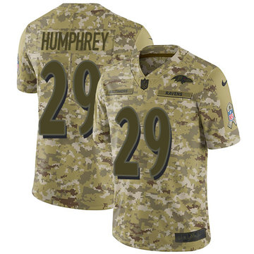 Nike Ravens #29 Marlon Humphrey Camo Youth Stitched NFL Limited 2018 Salute to Service Jersey