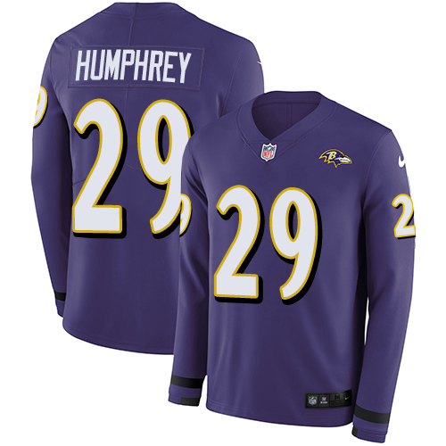 Nike Ravens #29 Marlon Humphrey Purple Team Color Men's Stitched NFL Limited Therma Long Sleeve Jersey