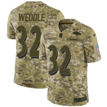 Nike Ravens #32 Eric Weddle Camo Men's Stitched NFL Limited 2018 Salute To Service Jersey