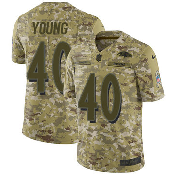 Nike Ravens #40 Kenny Young Camo Men's Stitched NFL Limited 2018 Salute To Service Jersey