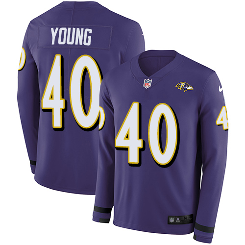 Nike Ravens #40 Kenny Young Purple Team Color Men's Stitched NFL Limited Therma Long Sleeve Jersey