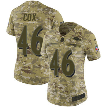Nike Ravens #46 Morgan Cox Camo Women's Stitched NFL Limited 2018 Salute to Service Jersey