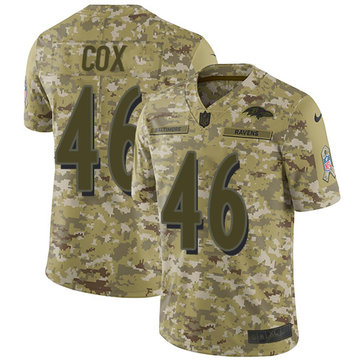 Nike Ravens #46 Morgan Cox Camo Youth Stitched NFL Limited 2018 Salute to Service Jersey