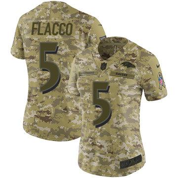 Nike Ravens #5 Joe Flacco Camo Women's Stitched NFL Limited 2018 Salute to Service Jersey