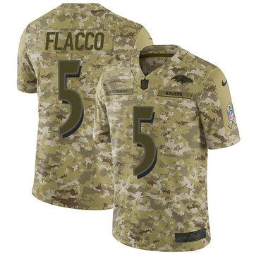 Nike Ravens #5 Joe Flacco Camo Youth Stitched NFL Limited 2018 Salute to Service Jersey