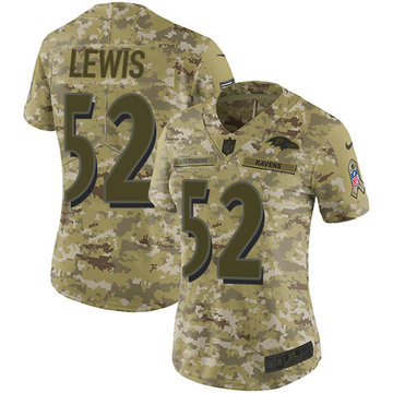 Nike Ravens #52 Ray Lewis Camo Women's Stitched NFL Limited 2018 Salute to Service Jersey
