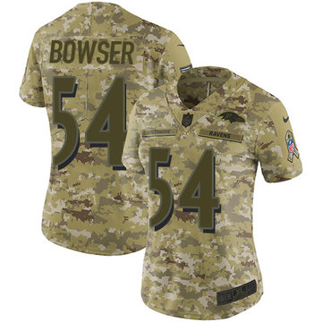 Nike Ravens #54 Tyus Bowser Camo Women's Stitched NFL Limited 2018 Salute to Service Jersey