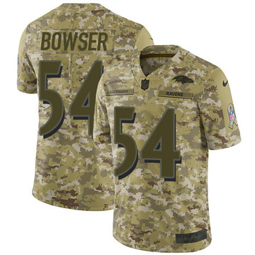 Nike Ravens #54 Tyus Bowser Camo Youth Stitched NFL Limited 2018 Salute to Service Jersey