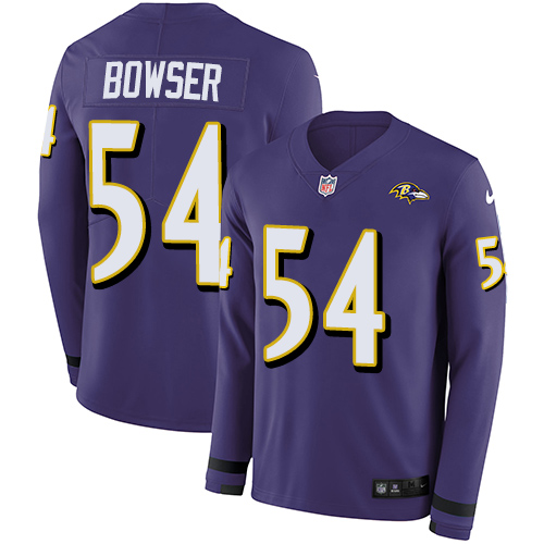 Nike Ravens #54 Tyus Bowser Purple Team Color Men's Stitched NFL Limited Therma Long Sleeve Jersey