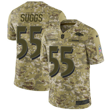 Nike Ravens #55 Terrell Suggs Camo Youth Stitched NFL Limited 2018 Salute to Service Jersey