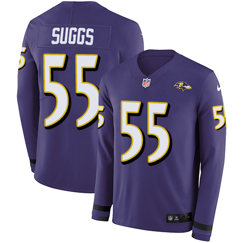 Nike Ravens #55 Terrell Suggs Purple Team Color Men's Stitched NFL Limited Therma Long Sleeve Jersey
