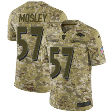 Nike Ravens #57 C.J. Mosley Camo Youth Stitched NFL Limited 2018 Salute to Service Jersey