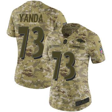 Nike Ravens #73 Marshal Yanda Camo Women's Stitched NFL Limited 2018 Salute to Service Jersey