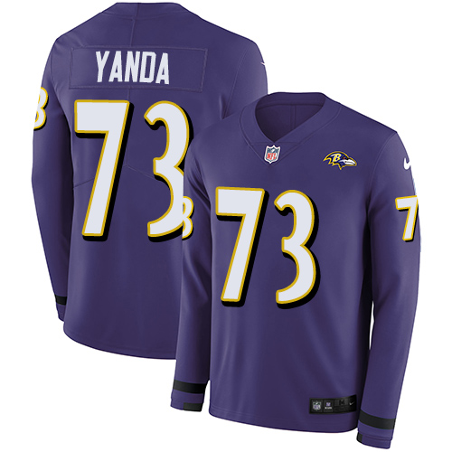 Nike Ravens #73 Marshal Yanda Purple Team Color Men's Stitched NFL Limited Therma Long Sleeve Jersey