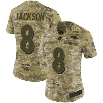 Nike Ravens #8 Lamar Jackson Camo Women's Stitched NFL Limited 2018 Salute to Service Jersey