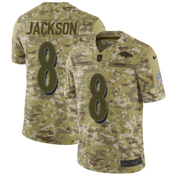 Nike Ravens #8 Lamar Jackson Camo Youth Stitched NFL Limited 2018 Salute to Service Jersey