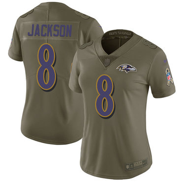 Nike Ravens #8 Lamar Jackson Olive Women's Stitched NFL Limited 2017 Salute to Service Jersey