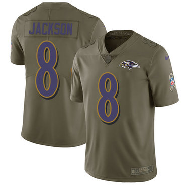 Nike Ravens #8 Lamar Jackson Olive Youth Stitched NFL Limited 2017 Salute to Service Jersey