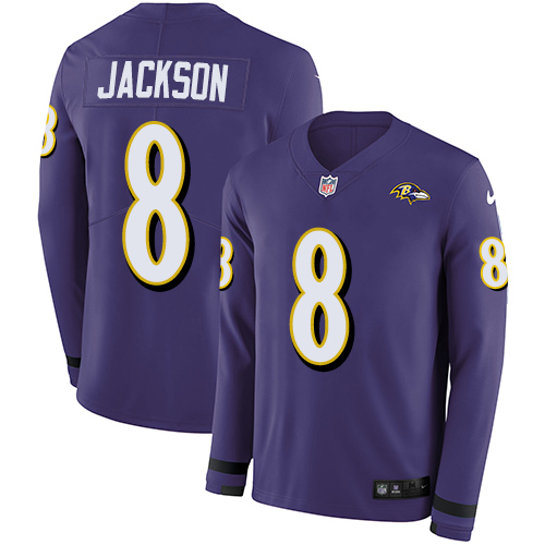 Nike Ravens #8 Lamar Jackson Purple Team Color Men's Stitched NFL Limited Therma Long Sleeve Jersey
