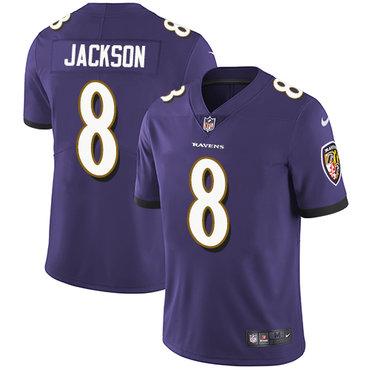 Nike Ravens #8 Lamar Jackson Purple Team Color Youth Stitched NFL Vapor Untouchable Limited Jersey