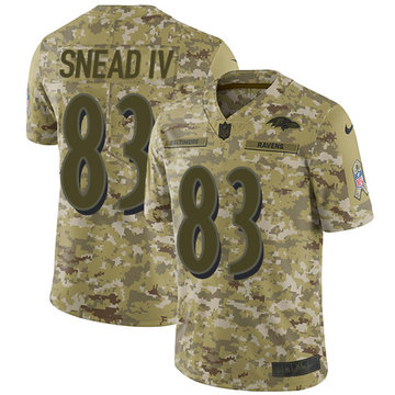 Nike Ravens #83 Willie Snead IV Camo Men's Stitched NFL Limited 2018 Salute To Service Jersey