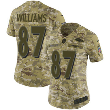 Nike Ravens #87 Maxx Williams Camo Women's Stitched NFL Limited 2018 Salute to Service Jersey