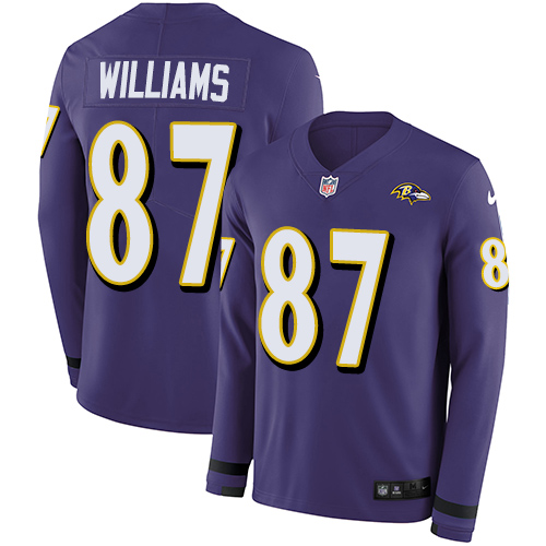 Nike Ravens #87 Maxx Williams Purple Team Color Men's Stitched NFL Limited Therma Long Sleeve Jersey