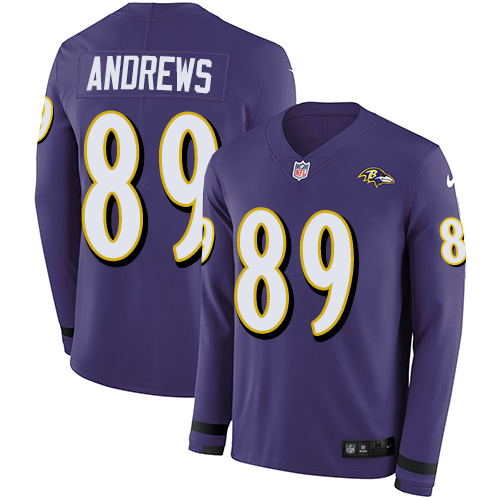 Nike Ravens #89 Mark Andrews Purple Team Color Men's Stitched NFL Limited Therma Long Sleeve Jersey
