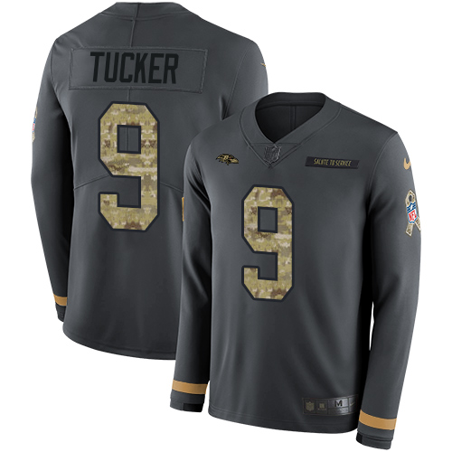Nike Ravens #9 Justin Tucker Anthracite Salute to Service Men's Stitched NFL Limited Therma Long Sleeve Jersey