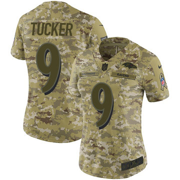 Nike Ravens #9 Justin Tucker Camo Women's Stitched NFL Limited 2018 Salute to Service Jersey