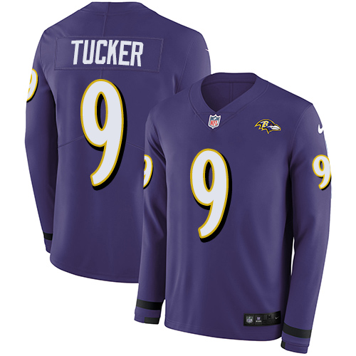Nike Ravens #9 Justin Tucker Purple Team Color Men's Stitched NFL Limited Therma Long Sleeve Jersey