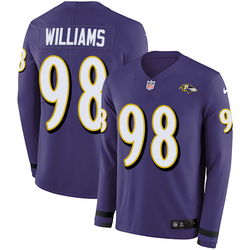 Nike Ravens #98 Brandon Williams Purple Team Color Men's Stitched NFL Limited Therma Long Sleeve Jersey
