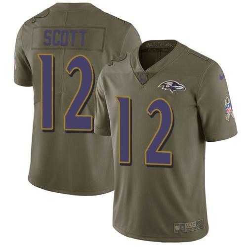 Nike Ravens 12 Jaleel Scott Olive Salute To Service Limited Jersey