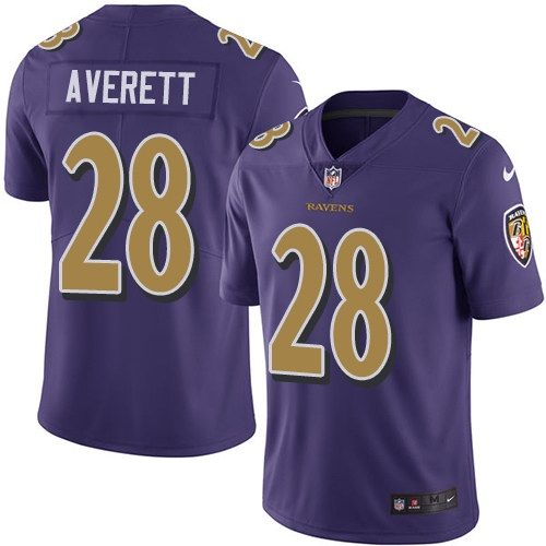 Nike Ravens 28 Anthony Averett Purple Color Rush Limited Jersey