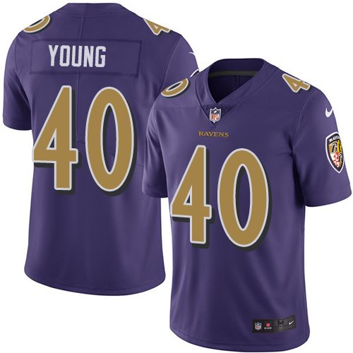 Nike Ravens 40 Kenny Young Purple Color Rush Limited Jersey