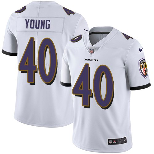 Nike Ravens 40 Kenny Young White Vapor Untouchable Limited Jersey
