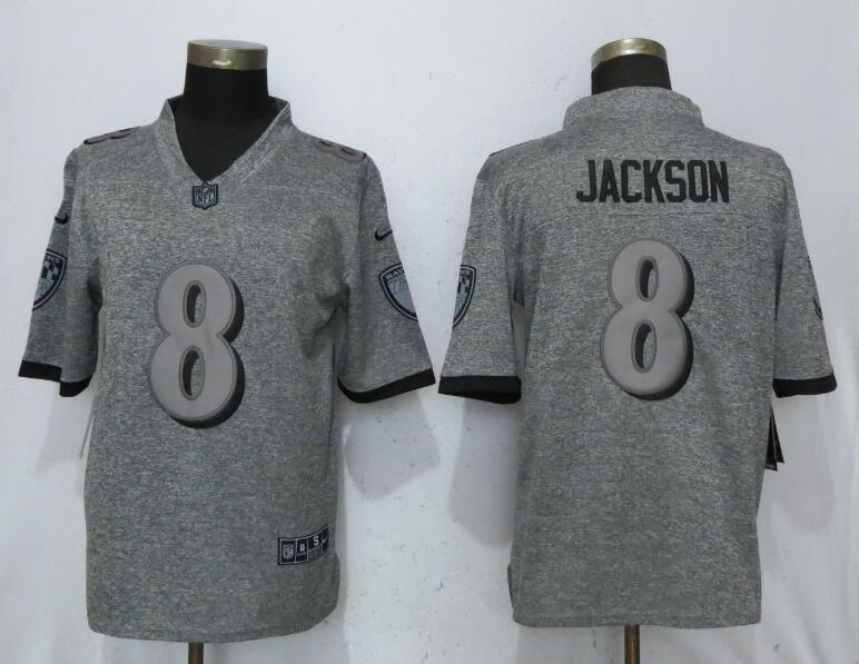 Nike Ravens 8 LaMar Jackson Gray Gridiron Gray Vapor Untouchable Limited Jersey