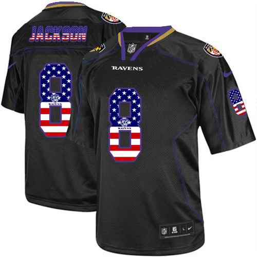 Nike Ravens 8 Lamar Jackson Black USA Flag Fashion Limited Jersey